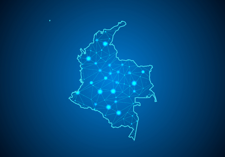 Abstract mash line and point scales on dark background with Map of colombia. Wire frame 3D mesh polygonal network line, design sphere, dot and structure. communications map of colombia. Vector.
