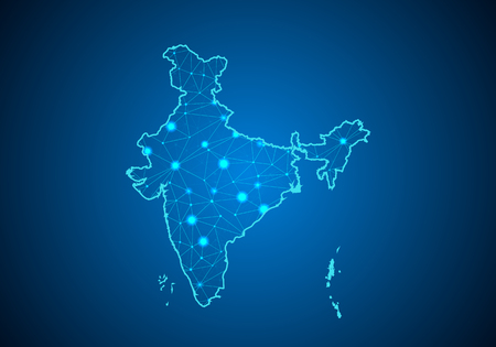 Abstract mash line and point scales on dark background with Map of india. Wire frame 3D mesh polygonal network line, design sphere, dot and structure. communications map of india.Vector illustration