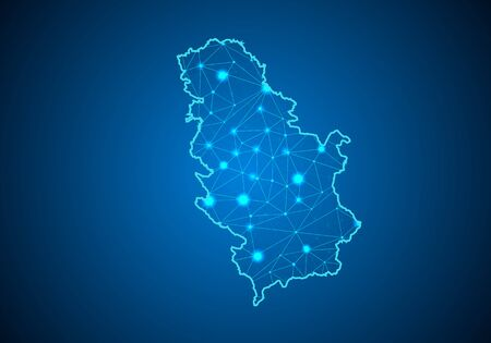 Abstract mash line and point scales on dark background with Map of Serbia. Wire frame 3D mesh polygonal network line, design sphere, dot and structure. communications map of Serbia. Vector. 일러스트