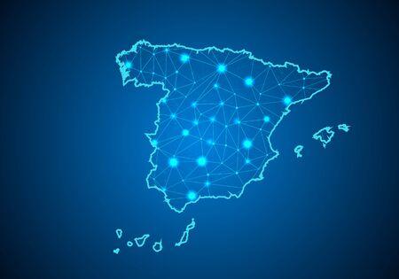 Línea abstracta de puré y escalas de puntos sobre fondo oscuro con mapa de España. Línea de red poligonal de malla 3D de marco de alambre, esfera de diseño, punto y estructura. mapa de comunicaciones de españa. Vector. Ilustración de vector