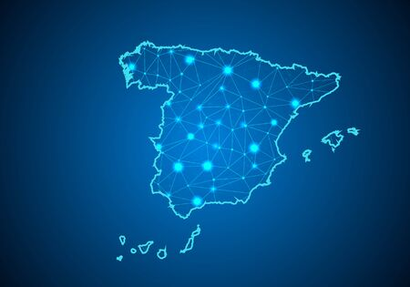 Abstract mash line and point scales on dark background with Map of spain. Wire frame 3D mesh polygonal network line, design sphere, dot and structure. communications map of spain. Vector.