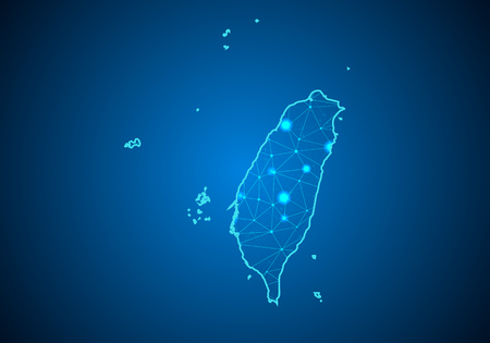 Resumen línea de puré y escalas de puntos sobre fondo oscuro con el mapa de Taiwán. Línea de red poligonal de malla 3D de marco de alambre, esfera de diseño, punto y estructura. Mapa de comunicaciones de Taiwán. Vector.
