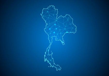 Ligne de purée abstraite et échelles de points sur fond sombre avec la carte de la Thaïlande. Ligne de réseau polygonale en treillis métallique 3D, sphère de conception, point et structure. carte de communications de la Thaïlande. Illustration vectorielle