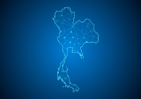 Abstract mash line and point scales on dark background with Map of Thailand. Wire frame 3D mesh polygonal network line, design sphere, dot and structure. communications map of Thailand.Vector illustration