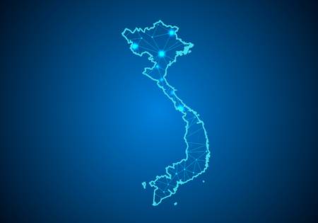 Abstract mash line and point scales on dark background with Map of vietnam. Wire frame 3D mesh polygonal network line, design sphere, dot and structure. communications map of vietnam. Vector.