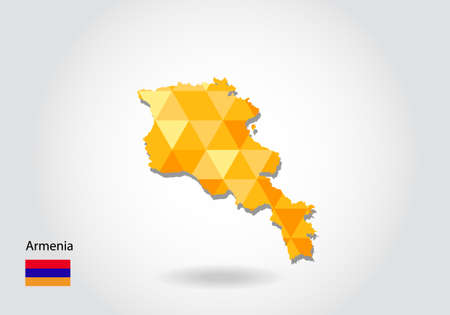 Geometric polygonal style vector map of armenia.