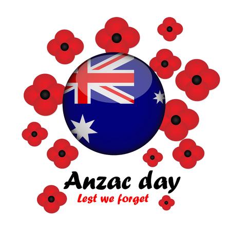 Vector illustration of Circle Australia flag with bright poppy flower Illustration