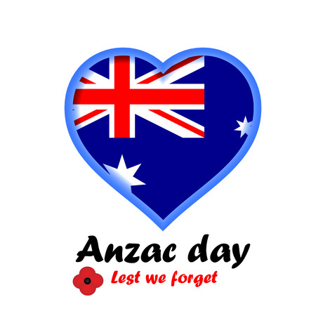 Vector illustration of heart shape with Australia flag with bright poppy flower