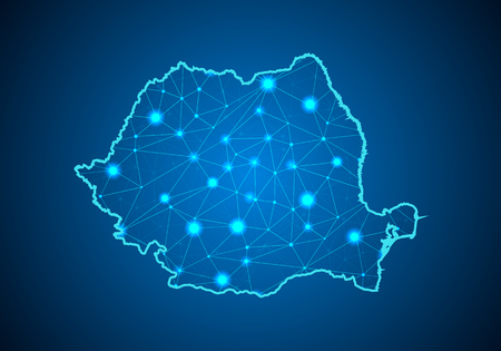Abstract mash line and point scales on dark background with Map of romania. Wire frame 3D mesh polygonal network line, design sphere, dot and structure. communications map of romania. Vector.