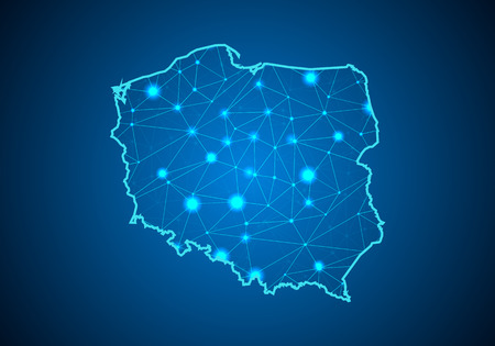 Abstract mash line and point scales on dark background with Map of Poland. Illustration