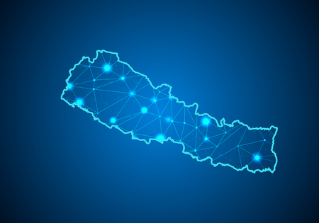 Abstract mash line and point scales on dark background with Map of Nepal.