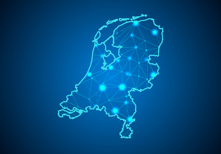 Abstract mash line and point scales on dark background with Map of Netherlands. Illustration