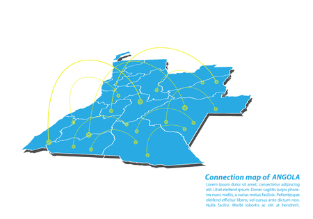 Modern of angola Map connections network design, Best Internet Concept of angola map business from concepts series, map point and line composition. Infographic map. Vector Illustration. Illustration