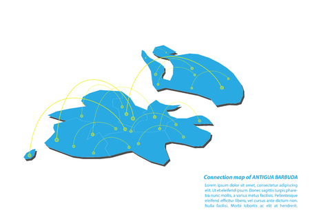 Modern of Antigua Barbuda Map connections network design, Best Internet Concept of Antigua Barbuda map business from concepts series, map point and line composition. Infographic map. Vector Illustration.