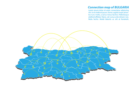 Modern of bulgaria Map connections network design, Best Internet Concept of bulgaria map business from concepts series, map point and line composition. Infographic map. Vector Illustration. Illustration