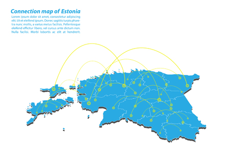 Modern of estonia Map connections network design, Best Internet Concept of estonia map business from concepts series, map point and line composition. Infographic map. Vector Illustration.