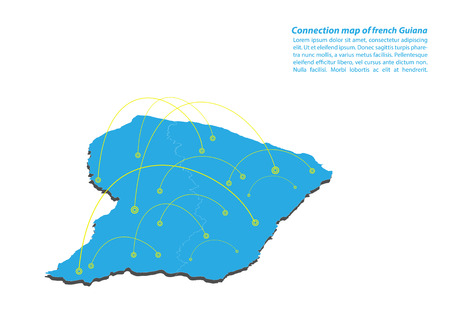 Modern of french Guiana Map connections network design, Best Internet Concept of french Guiana map business from concepts series, map point and line composition. Infographic map. Vector Illustration. 矢量图像