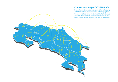 Modern of costa Rica Map connections network design, Best Internet Concept of costa Rica map business from concepts series, map point and line composition. Infographic map. Vector Illustration.