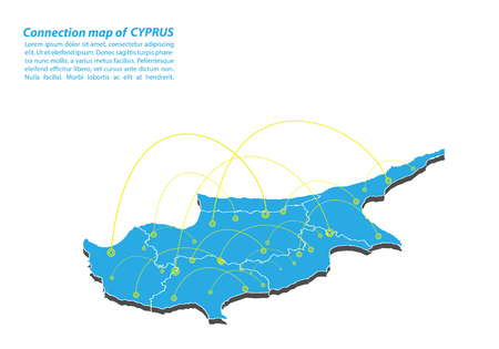 Modern of cyprus Map connections network design, Best Internet Concept of cyprus map business from concepts series, map point and line composition. Infographic map. Vector Illustration. Vettoriali