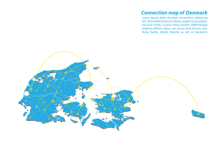 Modern of denmark Map connections network design, Best Internet Concept of denmark map business from concepts series, map point and line composition. Infographic map. Vector Illustration. 矢量图像