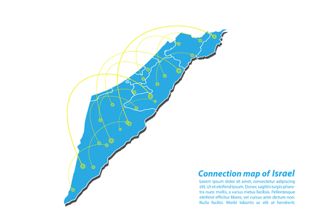 Modern of israel Map connections network design, Best Internet Concept of israel map business from concepts series, map point and line composition. Infographic map. Vector Illustration.