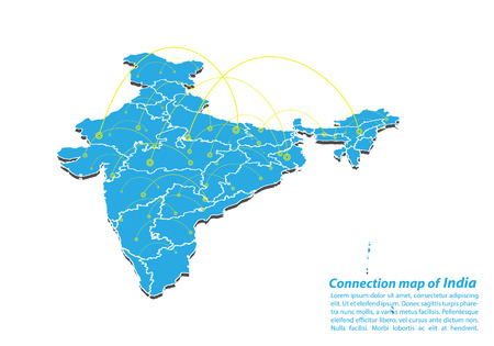 Modern of india Map connections network design, Best Internet Concept of india map business from concepts series, map point and line composition. Infographic map. Vector Illustration.