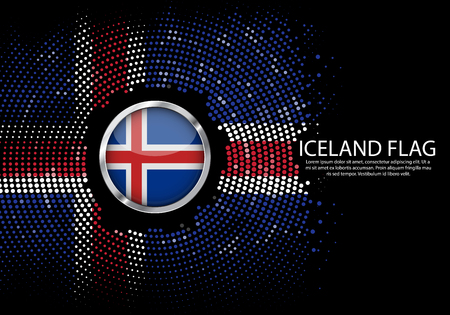 Background Halftone gradient template or LED neon Light on round Dots style of iceland flag.  Modern soccer cup for futuristic background with circle metallic round of iceland flag. Vector.
