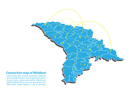Modern of moldova Map connections network design, Best Internet Concept of moldova map business from concepts series, map point and line composition. Infographic map. Vector Illustration.