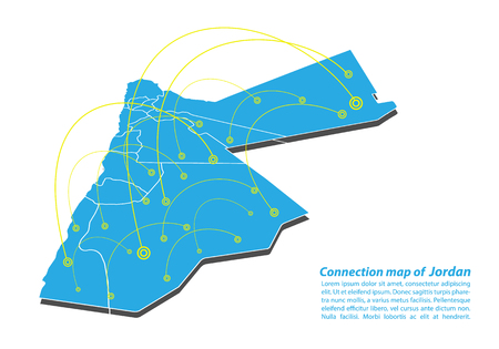 Modern of jordan Map connections network design, Best Internet Concept of jordan map business from concepts series, map point and line composition. Infographic map. Vector Illustration. Ilustrace