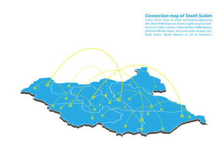 Modern of South Sudan Map connections network design, Best Internet Concept of South Sudan map business from concepts series, map point and line composition. Infographic map. Vector Illustration. Illustration