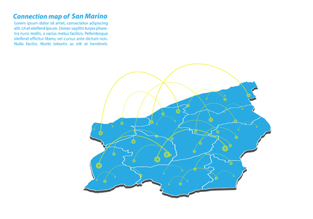 Modern of San Marino Map connections network design, Best Internet Concept of San Marino map business from concepts series, map point and line composition. Infographic map. Vector Illustration.