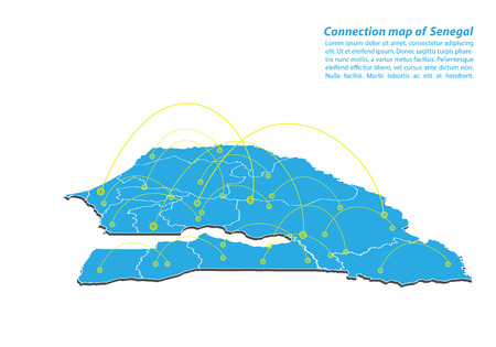 Modern of senegal Map connections network design, Best Internet Concept of senegal map business from concepts series, map point and line composition. Infographic map. Vector Illustration.