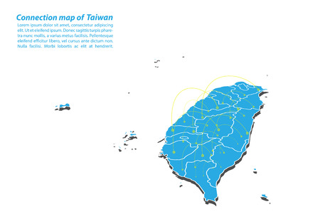 Modern of taiwan Map connections network design, Best Internet Concept of taiwan map business from concepts series, map point and line composition. Infographic map. Vector Illustration. Vectores