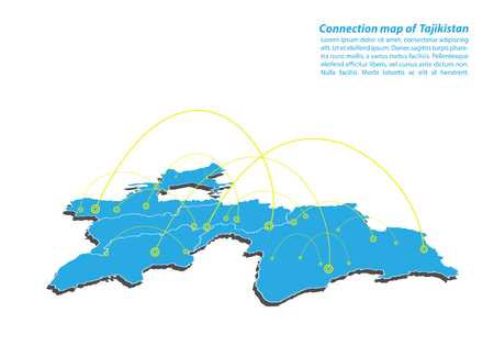 Modern of tajikistan Map connections network design, Best Internet Concept of tajikistan map business from concepts series, map point and line composition. Infographic map. Vector Illustration.