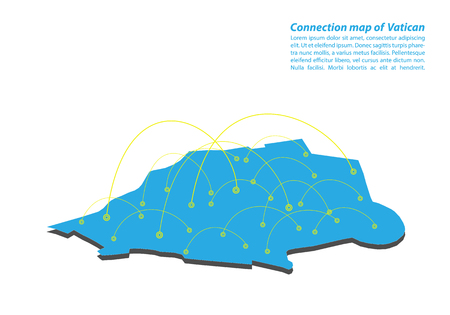 Modern of vatican Map connections network design, Best Internet Concept of vatican map business from concepts series, map point and line composition. Infographic map. Vector Illustration.