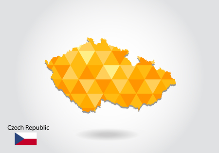 Geometric polygonal style vector map of czech Republic. Low poly map of czech Republic. Colorful Polygonal map shape of czech Republic on white background - vector illustration eps 10.