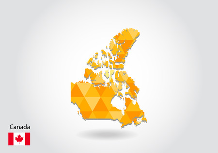 Geometric polygonal style vector map of canada. Low poly map of canada. Colorful Polygonal map shape of canada on white background - vector illustration eps 10.
