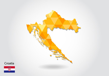Geometric polygonal style vector map of croatia. Low poly map of croatia. Colorful Polygonal map shape of croatia on white background - vector illustration eps 10. 矢量图像