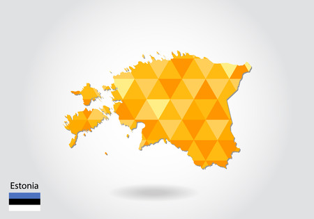 Geometric polygonal style vector map of estonia. Low poly map of estonia. Colorful Polygonal map shape of estonia on white background - vector illustration eps 10.