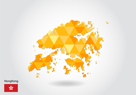 Geometric polygonal style vector map of hong Kong. Low poly map of hong Kong. Colorful Polygonal map shape of hong Kong on white background - vector illustration eps 10.
