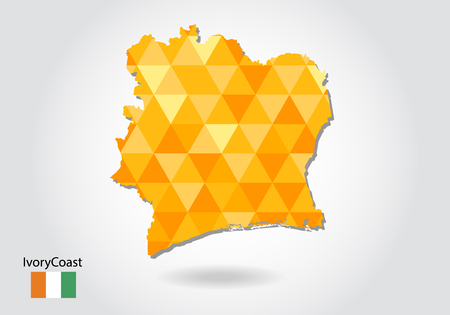 Geometric polygonal style vector map of ivory Coast. Low poly map of ivory Coast. Colorful Polygonal map shape of ivory Coast on white background - vector illustration eps 10.