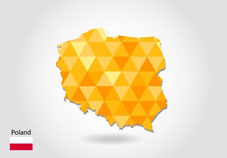 Geometrische veelhoekige stijl vector kaart van Polen. Laag poly kaart van Polen. Kleurrijke veelhoekige kaartvorm van Polen op witte achtergrond - vector illustratie eps 10.