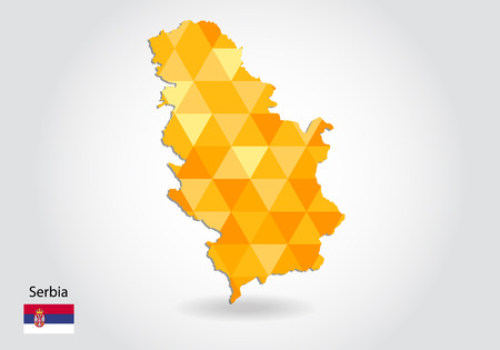Geometric polygonal style vector map of Serbia. Low poly map of Serbia. Colorful Polygonal map shape of Serbia on white background - vector illustration eps 10. Illustration