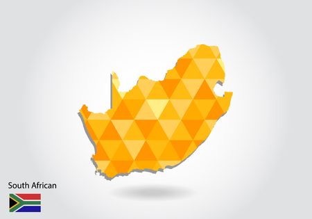 Geometric polygonal style vector map of south african. Low poly map of south african. Colorful Polygonal map shape of south african on white background - vector illustration eps 10.