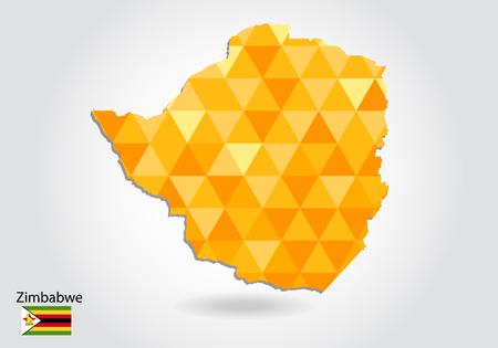 Carte vectorielle de style polygonale géométrique du Zimbabwe. Carte de basse poly du Zimbabwe. Forme de carte polygonale colorée du Zimbabwe sur fond blanc - illustration vectorielle eps 10.