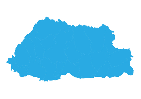 Map of bhutan. High detailed vector map - bhutan. Ilustração