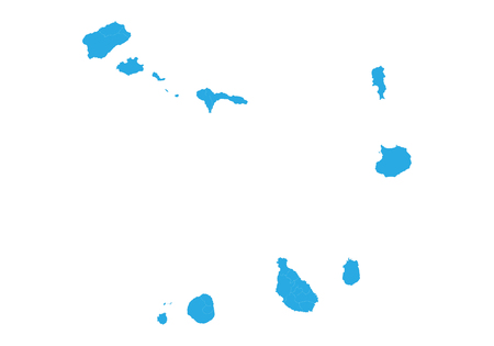 Karte von Kap Verde. Hohe detaillierte Vektorkarte - Kap Verde. Vektorgrafik