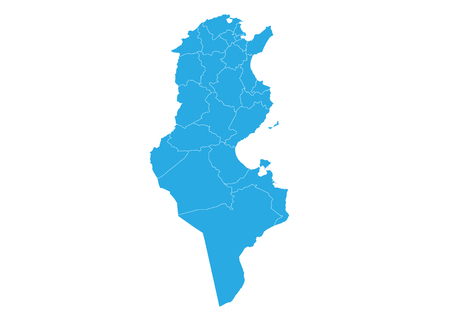 Map of tunisia. High detailed vector map - tunisia. 向量圖像
