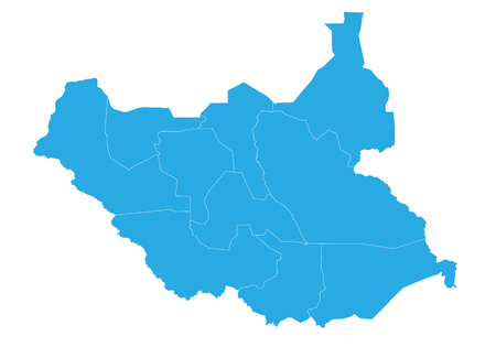 Map of south Sudan. High detailed vector map - south Sudan.