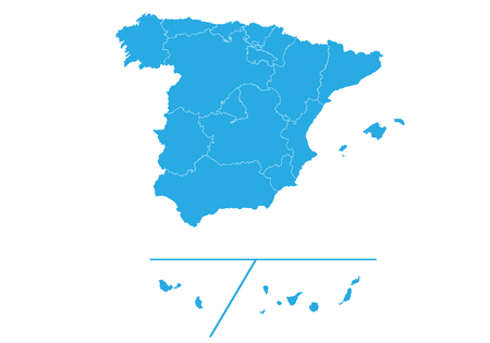 Map of spain Provinces. High detailed vector map - spain Provinces. Иллюстрация